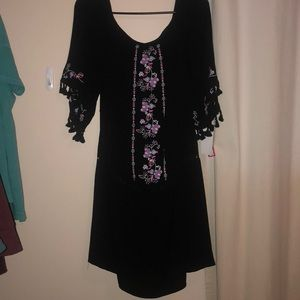 NEW WITH TAGS black dress with embroidery